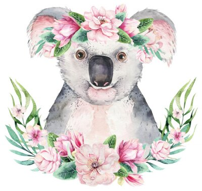 Poster A poster with a koala. Watercolor cartoon koala tropical animal illustration. Jungle exotic summer print.