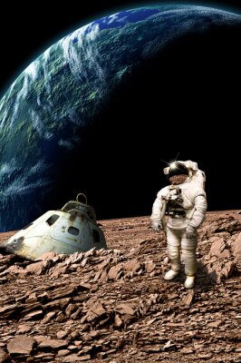 Poster A stranded astronaut surveys his situation - Elements of this image furnished by NASA.