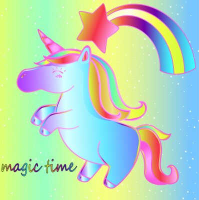 Poster A unicorn and a rainbow on a bright neon background is a magical time. Bright children's fairy-tale poster