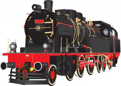 Poster A Veteran Heavy Steam Freight Railway Locomotive isolated on white
