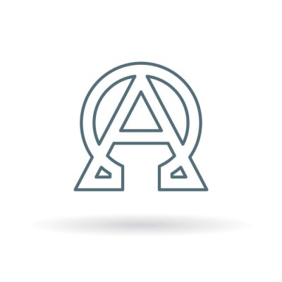 Poster Abstract alpha and omega icon. Beginning and end sign. Greek alpha and omega symbol. Alpha and omega logo. Thin line icon on white background. Vector illustration.