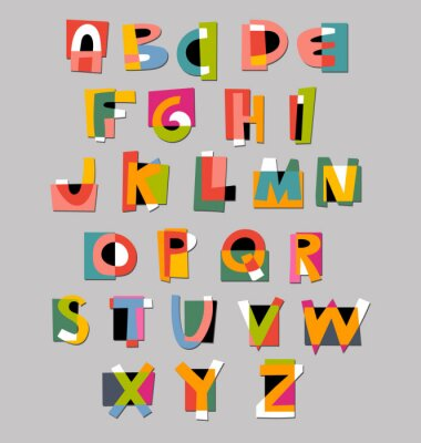 Poster Abstract alphabet font. Paper cut-out style