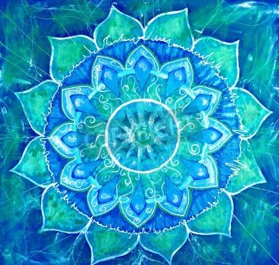 Poster abstract blue painted picture with circle pattern, mandala of vishuddha chakra