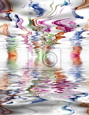 abstract colored smoke in a white background