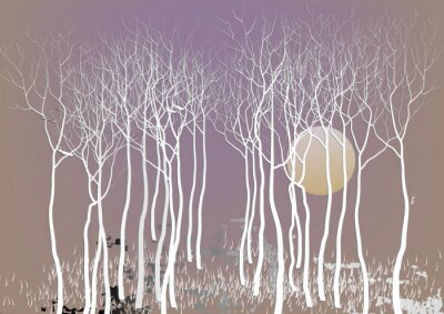 Poster Abstract forest trees with out leave with the moon night time vision ,white tree