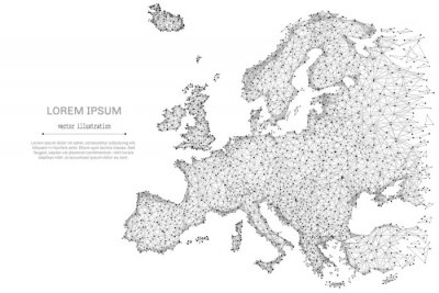 Poster Abstract mash line and point Europe map on white background with an inscription. Starry sky or space, consisting of stars and the universe. Vector world illustration