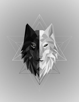 Poster Abstract polygonal wolf head design