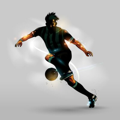 Poster Abstract soccer running with ball