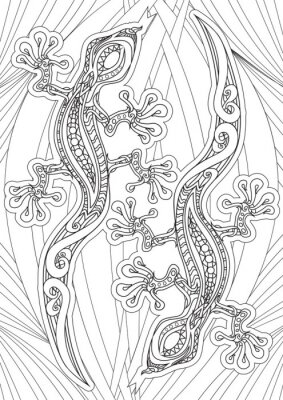Poster Adult Coloring book – illustration. Tattoo set: Lizrds. Vector illustration.
