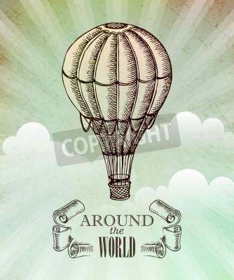 Poster Aeronautic adventure. Vector vintage illustration with balloon EPS 10