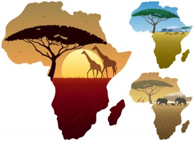 Poster Africa Map Landscapes / Three African landscapes in map of Africa.
