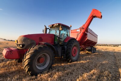 Poster Agriculture tractor on a stubble field