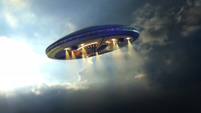 Poster Alien UFO saucer flying through the clouds above Earth