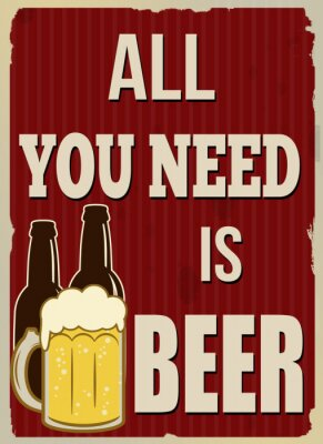 Poster All you need is beer retro poster