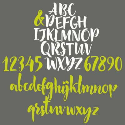 Poster Alphabet letters: lowercase, uppercase and numbers.