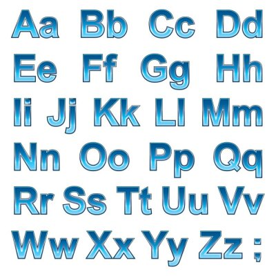 Poster Alphabet pseudo 3d letters