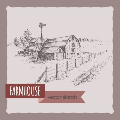 Poster American farm house, barn and pasture vector sketch.