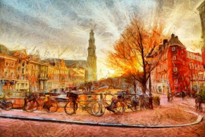 Poster Amsterdam canal at evening impressionistic painting