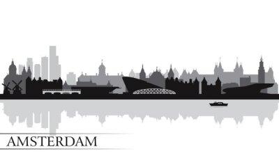 Poster Amsterdam city skyline silhouette background