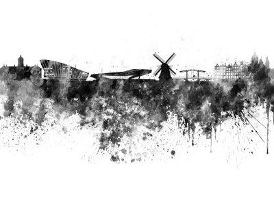 Poster Amsterdam skyline in black watercolor