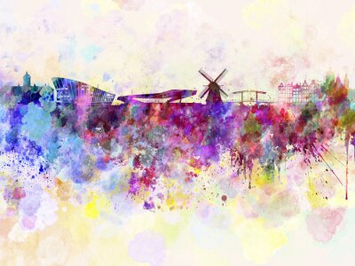 Poster Amsterdam skyline in watercolor background