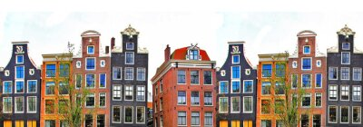 Poster Amsterdam . traditional houses border