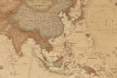 Poster Ancient geographic map of Asia with names of the countries