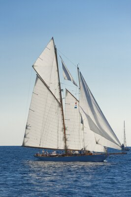 Poster Ancient sailing boat during a regatta at the Panerai Classic Yac
