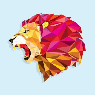 Poster Angry lion with geometric pattern- Vector illustration