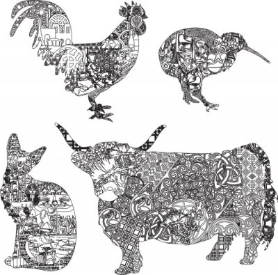 Poster animals in ethnic ornaments