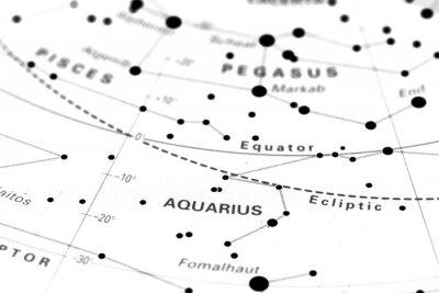 Poster Aquarius star map zodiac. Star sign Aquarius on an astronomy star map.