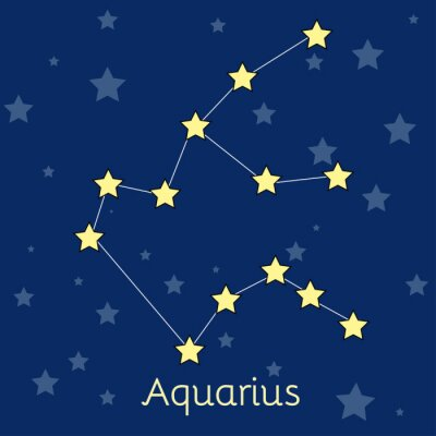Poster Aquarius Water Zodiac  constellation with stars in cosmos. Vector image