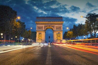 Poster Arc de Triomphe. Image of the iconic Arc de Triomphe in Paris city during twilight blue hour.