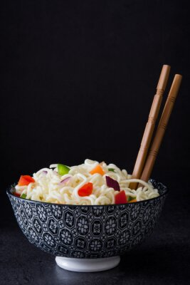 Poster Asian noodles and vegetables on slate