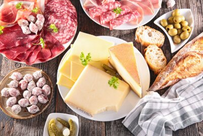 Poster assortment of cheese, meat