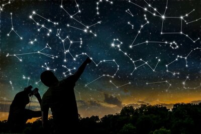 Poster Astrology concept. Constellations on night sky. Silhouettes of astrologers observing zodiac constellation.