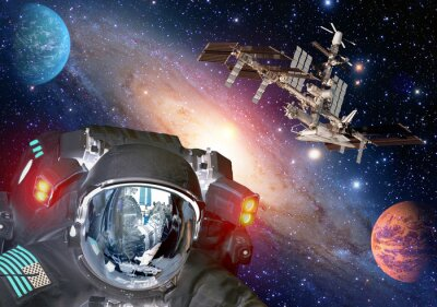 Poster Astronaut et alien extraterrestrial sci fi ufo space planets spaceship. Elements of this image furnished by NASA.