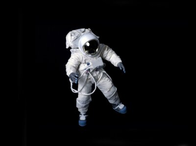 Poster Astronaut floating against a black background.