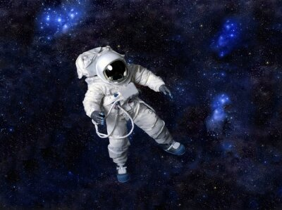 Poster Astronaut floating in dark space.