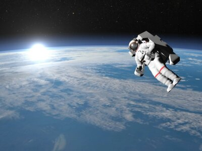 Poster Astronaut or cosmonaut flying upon earth - 3D render