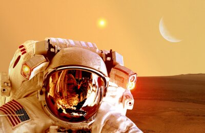 Poster Astronaut spaceman helmet space planet Mars apocalypse moon. Elements of this image furnished by NASA.