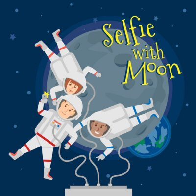 Poster astronauts men and woman in outer space taking selfie portrait with moon .selfie with moon concept illustration