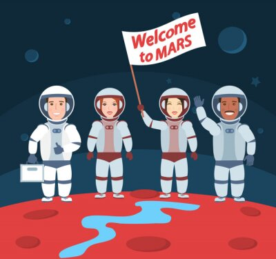 Poster astronauts on mars. welcome to mars.international group with flag