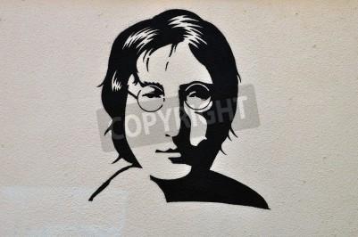 Poster ATHENS, GREECE - AUGUST 30, 2014: John Lennon portrait stencil graffiti urban art on textured wall.