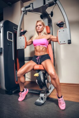Poster attractive woman in gym on workout machine
