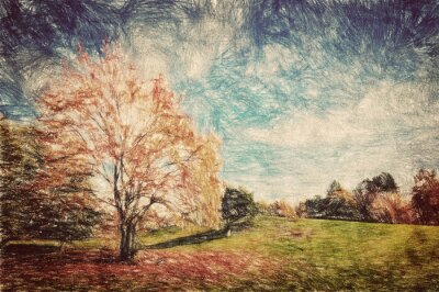 Poster Autumn park. Green hill in red leaves. Vintage art