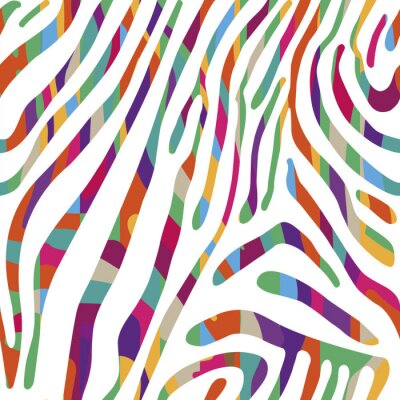 Poster Background with colorful Zebra skin pattern