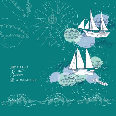 Poster Background with ships and waves.Hand drawn sea, waves and yachts. Vector  Illustration