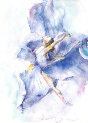 Poster Ballerina dancing watercolor painting isolated on white background greeting card