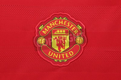 Poster BANGKOK, THAILAND - AUGUST 21, 2015:  the Manchester United football club on an official jersey of the club on  August  21,2015 in Bangkok Thailand. Red devils is ready for the next season